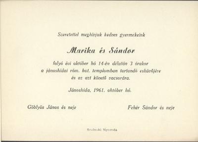 Göblyös Marika és Fehér Sándor esküvői meghívója