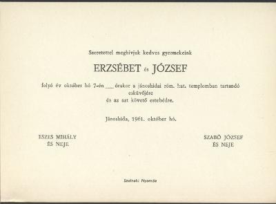 Eszes Erzsébet és Szabó József esküvői meghívója