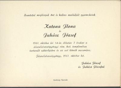 Katona Ilona és Juhász József esküvői meghívója