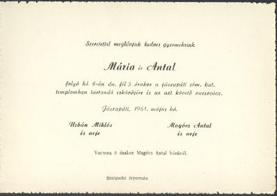 Urbán Mária és Magócs Antal esküvői meghívója