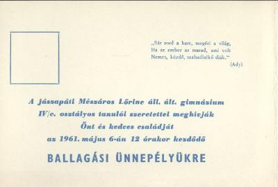 Meghívó a jászapáti Mészáros Lőrinc Állami Általános Gimnázium ballagási ünnepségére