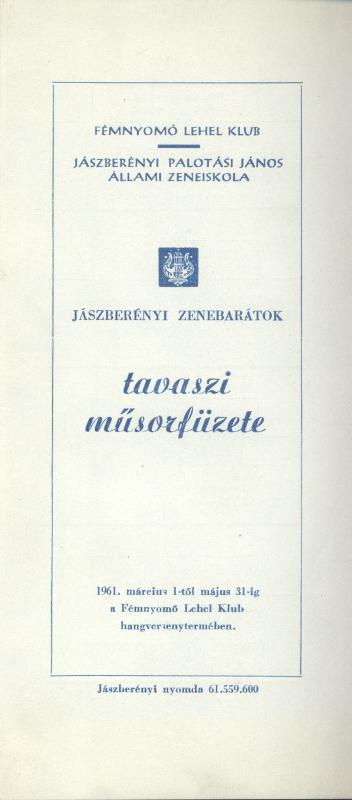 Jászberényi zenebarátok tavaszi műsorfüzete