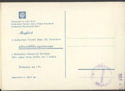 Meghívó a jászberényi Palotási János Állami Zeneiskola növendék hangversenyére