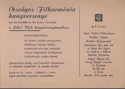 Meghívó országos Filharmónia Hangversenyre