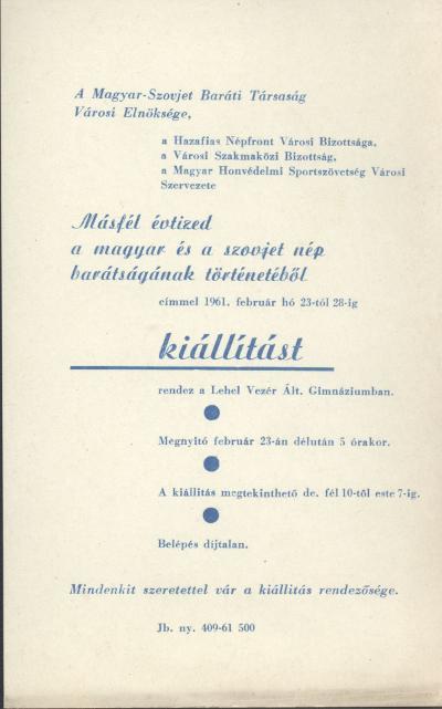 Másfél évtized a magyar és a szovjet nép barátságának történetéből