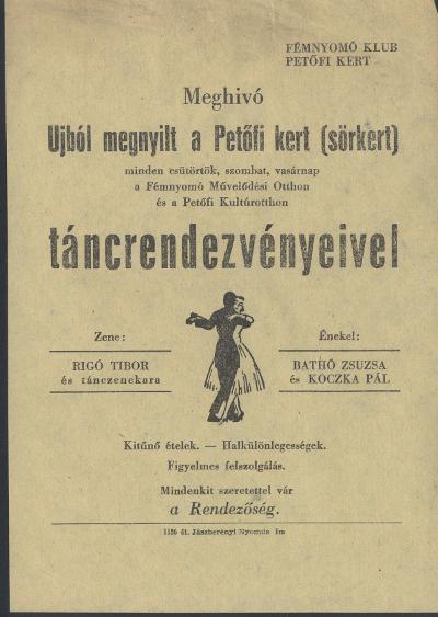 Meghívó a Fémnyomó Klub Petőfi Kert (sörkert) rendezvényeire