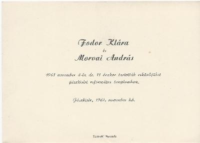 Fodor Klára és Morvai András esküvői meghívója