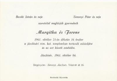 Margitka és Ferenc esküvői meghívója