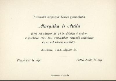 Vincze Margitka és Bathó Attila esküvői meghívója