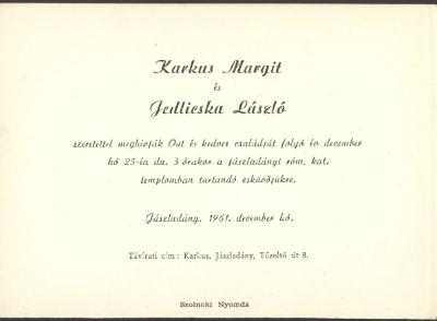 Karkus Margit és Jedlicska László esküvői meghívója