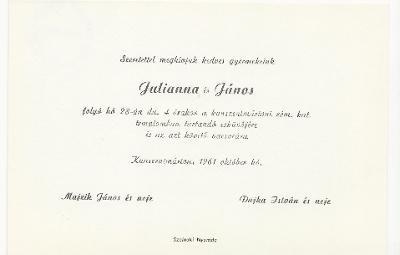 Julianna és János esküvői meghívója
