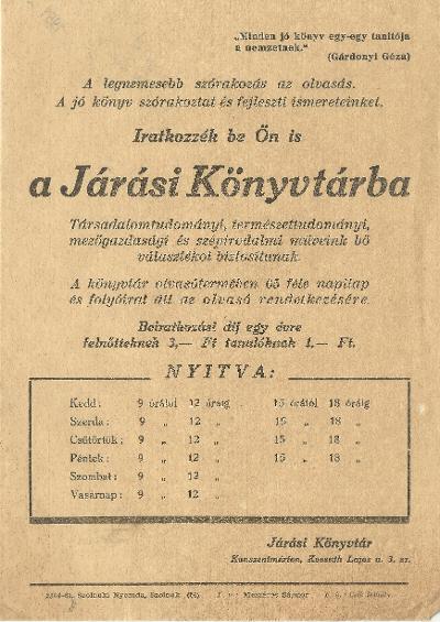 Kunszentmártoni Járási Könyvtár szórólapja
