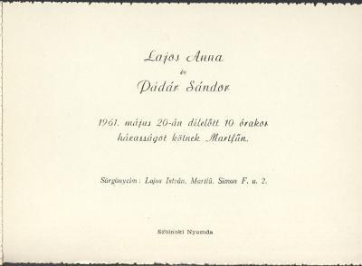 Lajos Anna és Pádár Sándor esküvői meghívója