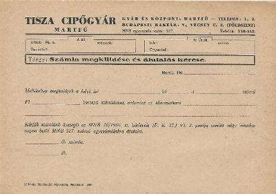 Tisza Cipőgyári nyomtatvány