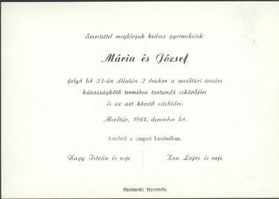 Nagy Mária és Kun József esküvői meghívója