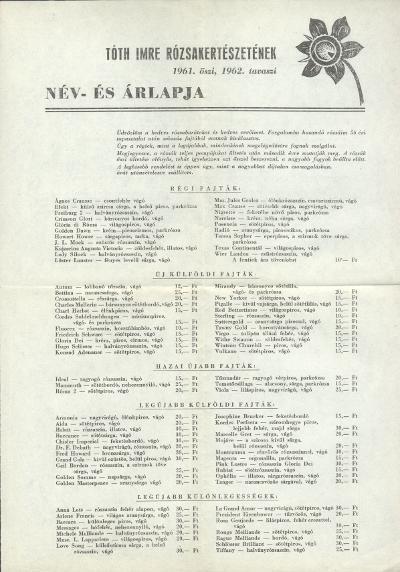 Tóth Imre Rózsakertészetének név- és árlapja (1961. ősz és 1962. tavasz)