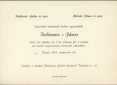Boldizsár Julianna és Molnár János esküvői meghívója