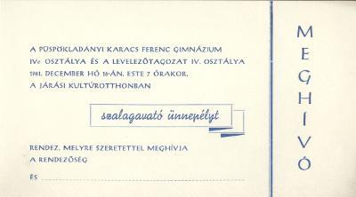 A püspökladányi Karacs Gyula Gimnázium meghívója szalagavató ünnepélyre