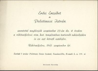 Erdei Erzsébet és Palatinusz István esküvői meghívója