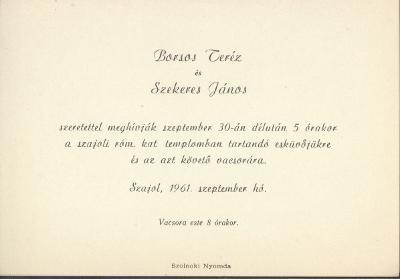 Borsos Teréz és Szekeres János esküvői meghívója