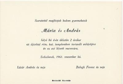 Mária és András esküvői meghívója
