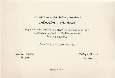Marika és András esküvői meghívója