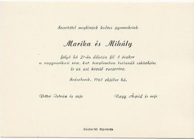 Marika és Mihály esküvői meghívója