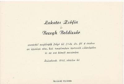 Lakatos Zsófia és Bezegh Boldizsár esküvői meghívója