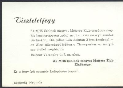 Tiszteletjegy az MHS Szolnok megyei Motoros Klub meghívásos terepgyorsasági motorversenyére
