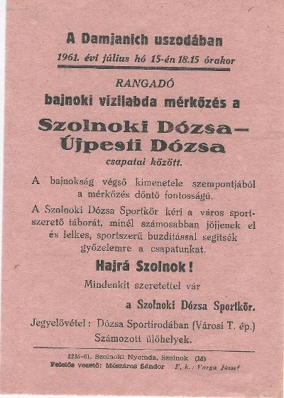 Bajnoki vizilabda mérkőzés a Szolnoki Dózsa - Újpest Dózsa csapatai között