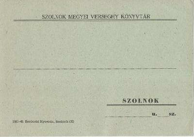 Verseghy Ferenc Könyvtár késedelmi felszólítója