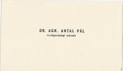 Dr. Agr. Antal Pál mezőgazdasági mérnök névjegye