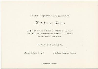 Katóka és János esküvői meghívója
