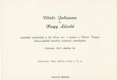 Vörös Julianna és Nagy László esküvői meghívója