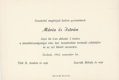 Mária és István esküvői meghívója