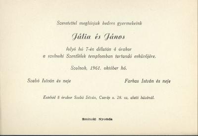 Júlia és János esküvői meghívója