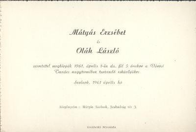 Mátyás Erzsébet és Oláh László esküvői meghívója