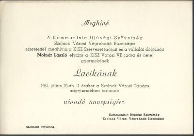 Meghívó Molnár László és neje gyermekének névadó ünnepségére