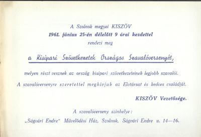 A Szolnok megyei KISZÖV megrendezi a Kisipari Szövetkezetek Országos Szavalóversenyét