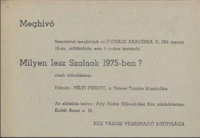 Pélyi Ferenc: Milyen lesz Szolnok 1975-ben?
