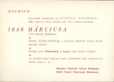 """Meghívó az Ifjúsági Akadémia """"1848 márciusa"""" című ünnepi előadásra"""