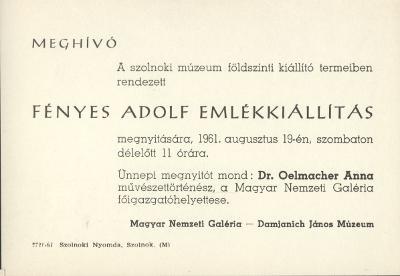 Meghívó a Damjanich János Múzeumban tartandó Fényes Adolf emlékkiállításra
