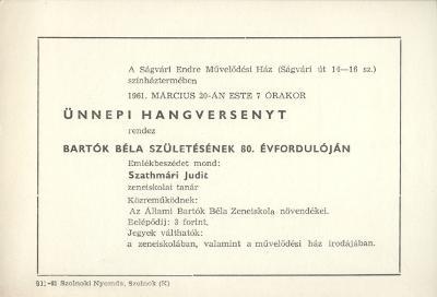 Meghívó Bartók Béla születésének 80. évfordulójára rendezett ünnepi hangversenyre