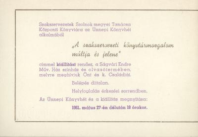 """Ünnepi könyvhét alkalmából """"A szakszervezeti könyvtármozgalom múltja és jelene"""" címmel kiállítás nyílik"""