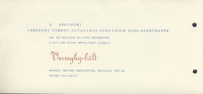 A szolnoki Verseghy Ferenc Általános Gimnázium KISZ-szervezete Verseghy bált rendez