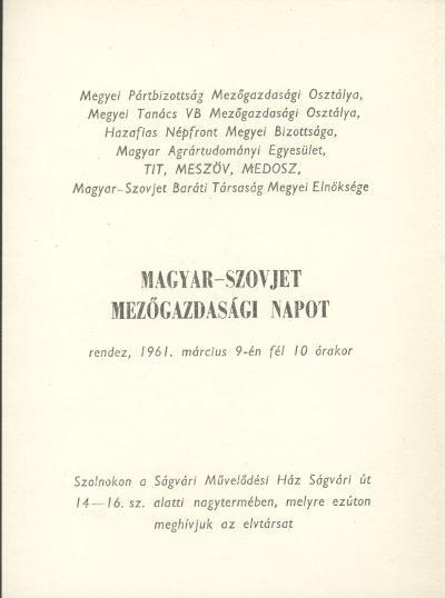 Magyar-Szovjet Mezőgazdasági nap