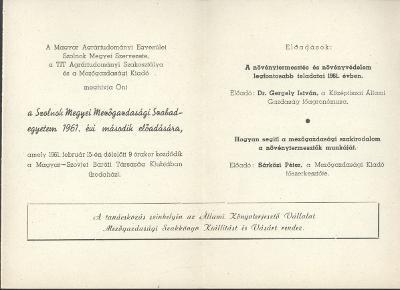 Meghívó a Szolnok megyei Mezőgazdasági Szabadegyetem 1961. évi második előadására