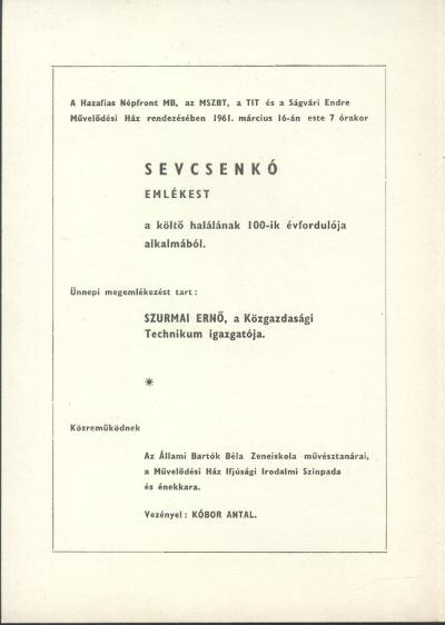 Meghívó Sevcsenkó emlékestre