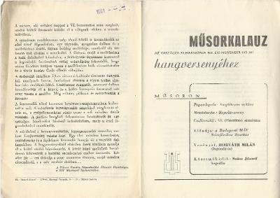 Műsorkalauz az Országos Filharmónia 1961. évi november hó 26-i hangversenyéhez
