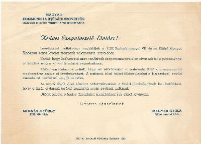 A KISZ Szolnok megyei VB és az Úttörő Megyei Elnökség levele